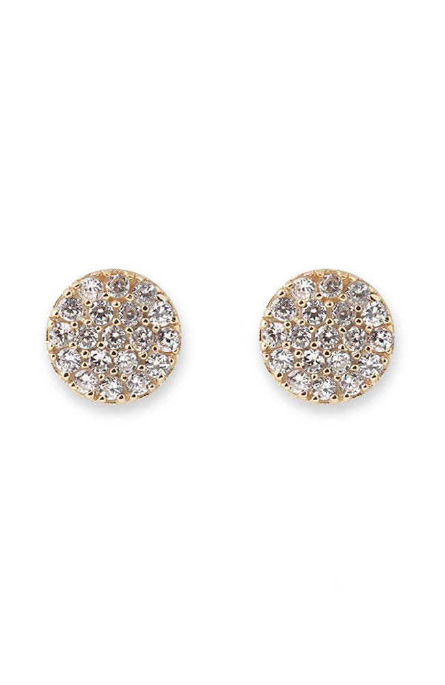 Zirconia Pave Disc Earrings  - Gold