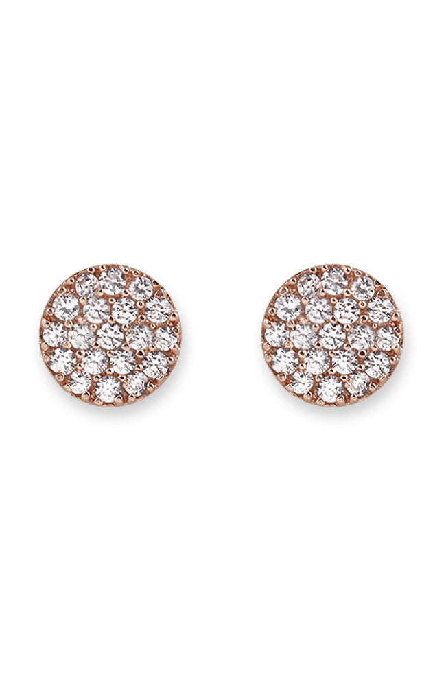 Zirconia Pave Disc Earrings  - Rose Gold