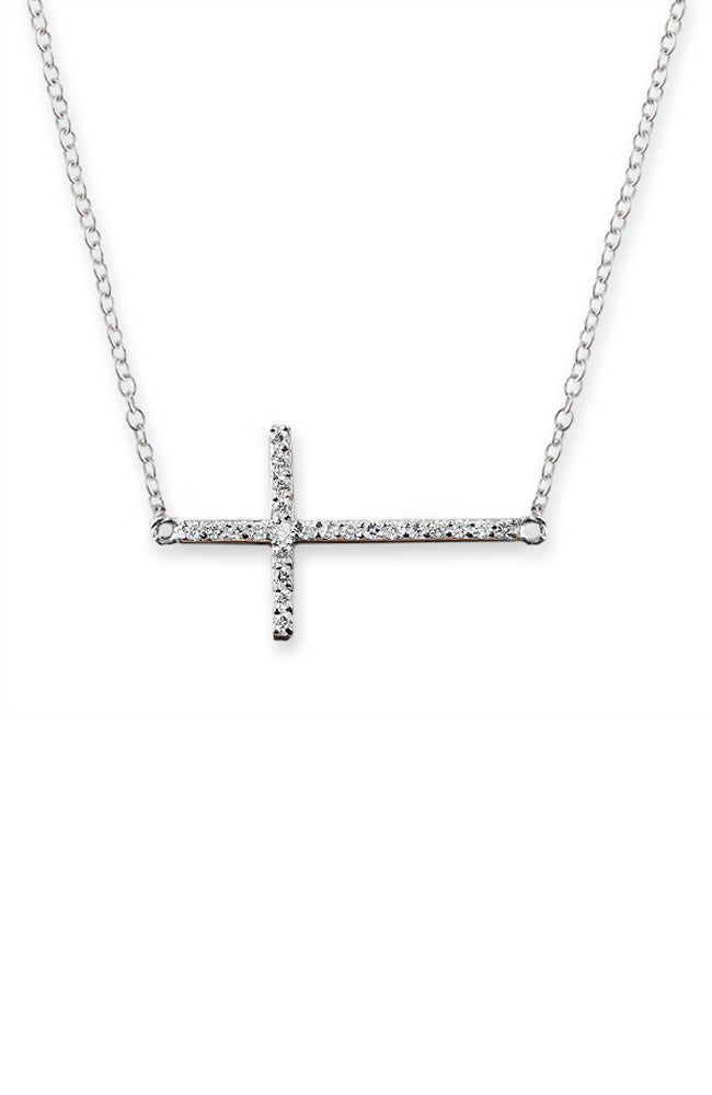 Side Cross Necklace - Silver