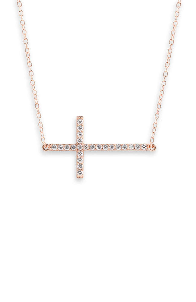 Side Cross Necklace - Rose Gold