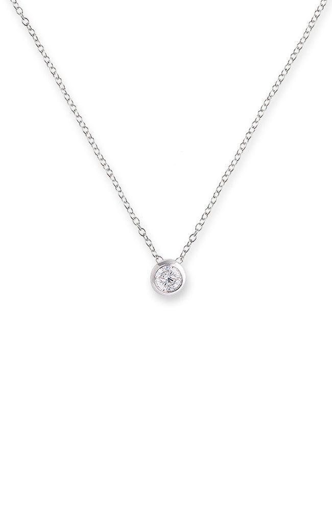 Bezel Pendant Necklace - Silver