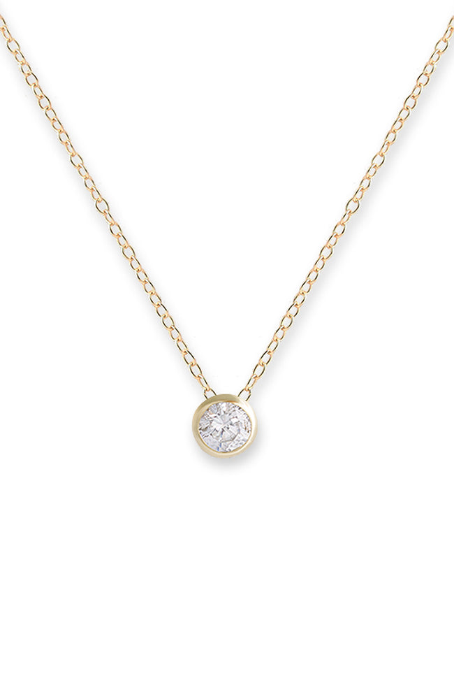 Bezel Pendant Necklace - Gold