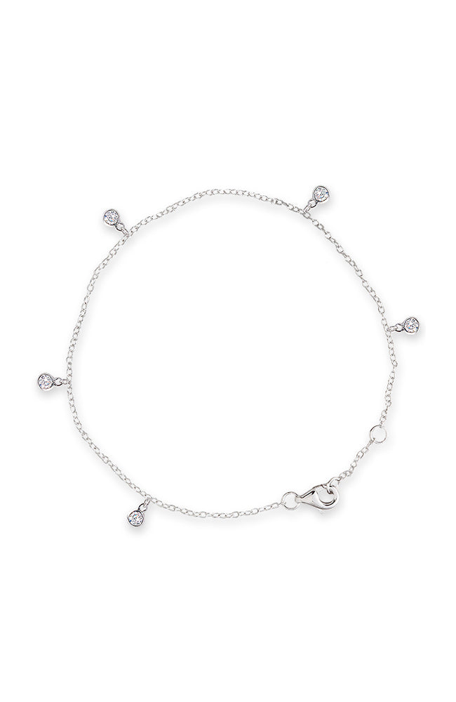 Bezel Scattered Drop Bracelet - Silver