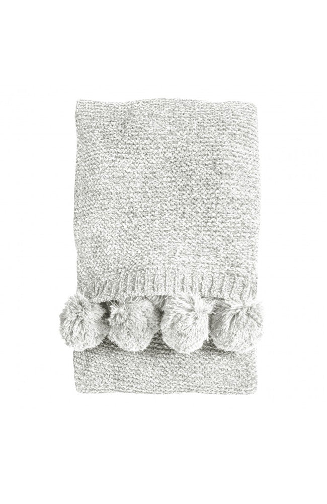Knitted Pom Pom Chenille Throw - Cream