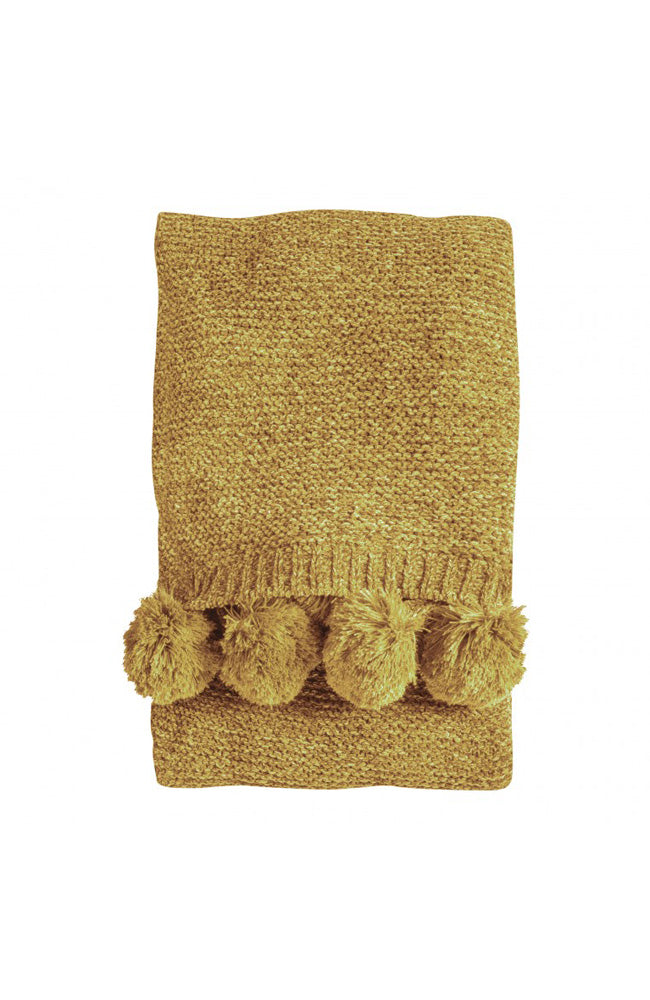 Knitted Pom Pom Chenille Throw - Ochre