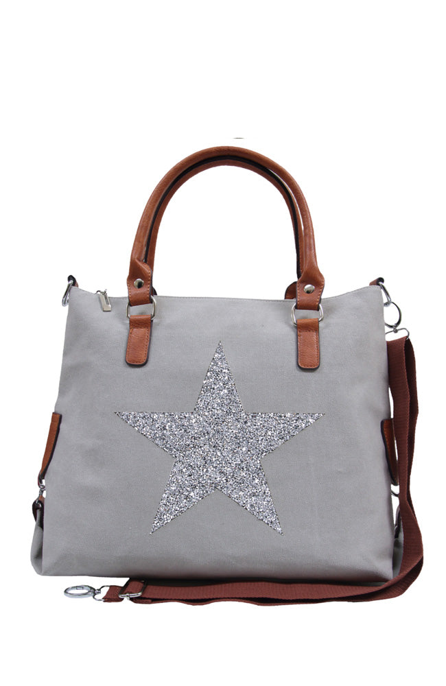 Star Power Canvas Bag - Silver