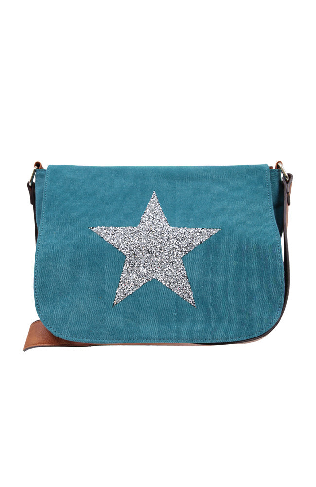 Star Power Canvas X Body Bag - Turqouise