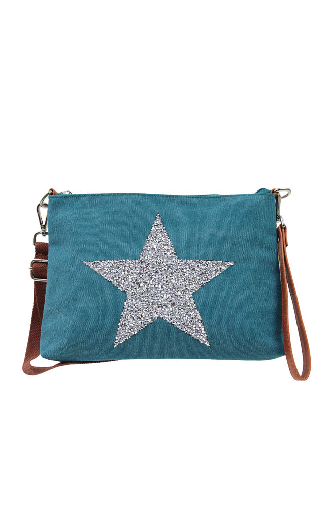 Star Power Clutch/Cross Body Bag - Turqouise
