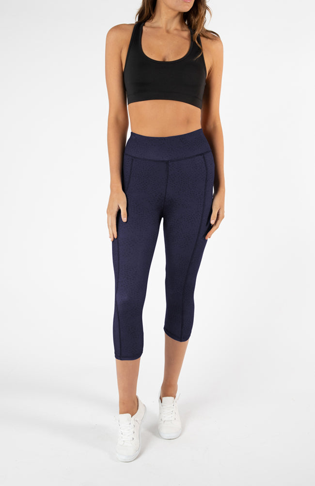 Sprint Crop Legging  - Navy Pebble