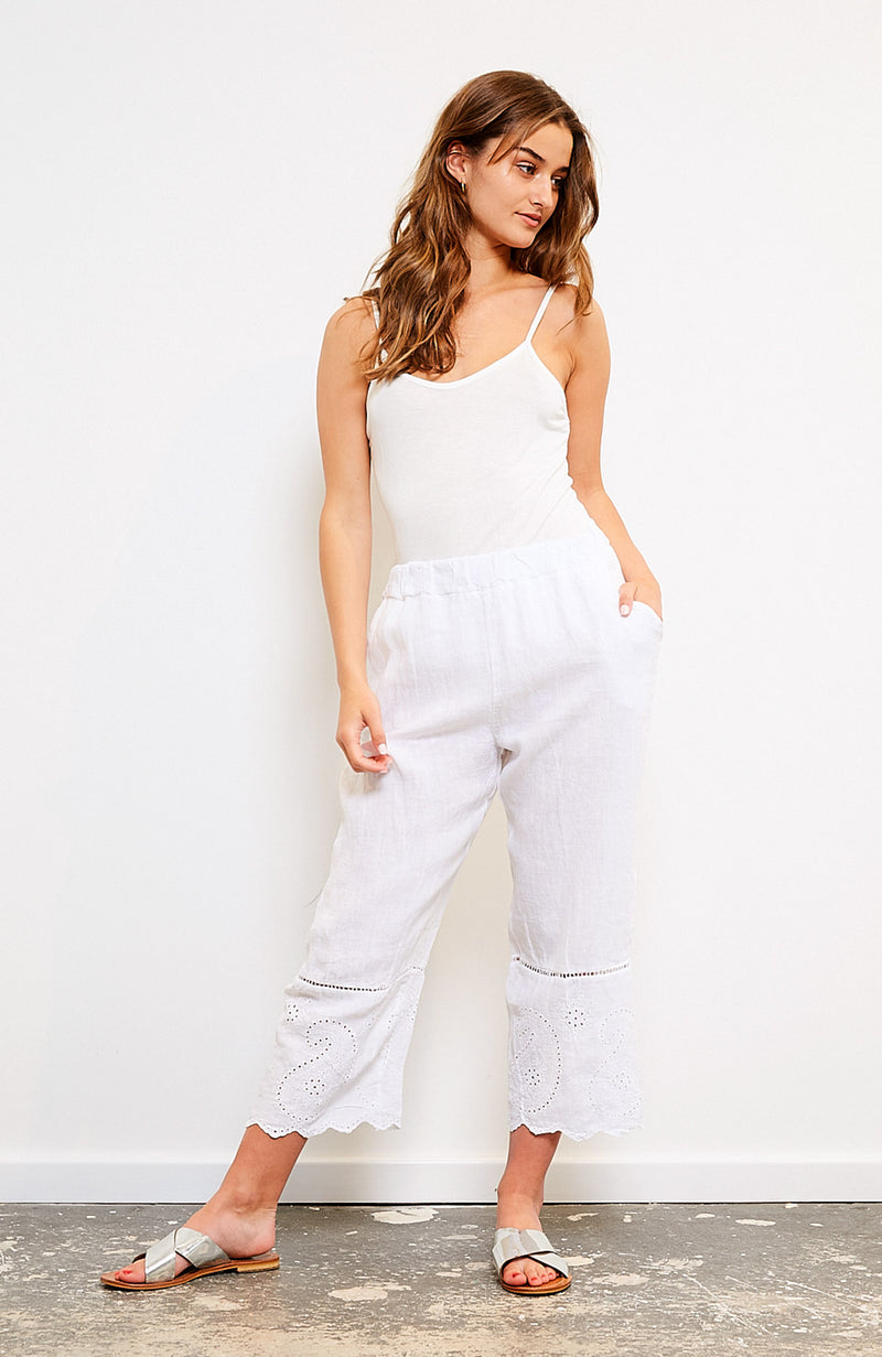 Broderie Paisley Pant I White