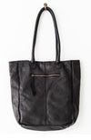 Boston Leather Tote - Black