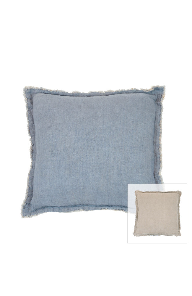 Mist Linen Cushion I Natural / Navy
