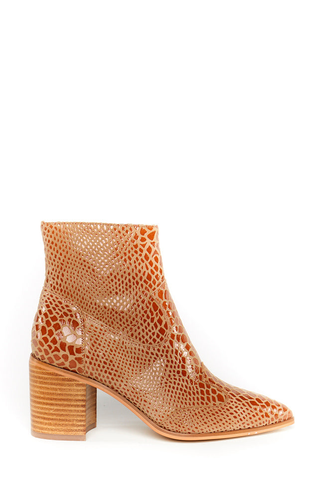 Grace Ankle Boot - Chestnut Snake