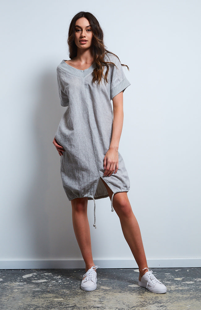 Beach Linen Cotton Tunic  I Silver