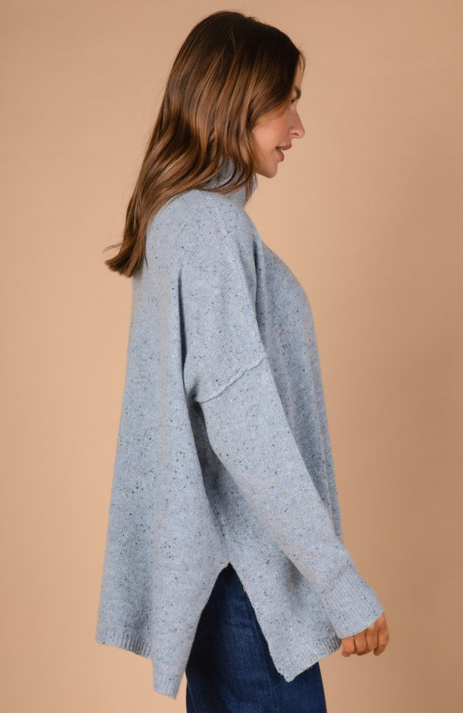 Roll-Neck Fleck Tunic - Sky