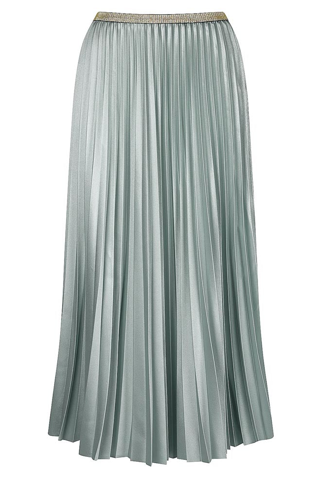 Pleat Satin Skirt - Frosty Green