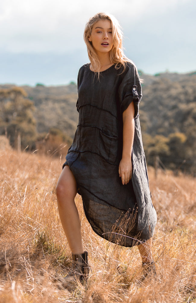 Waterfall  Dress - Charcoal