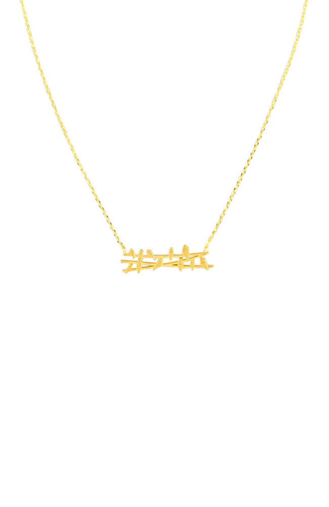 Birds On A Wire Necklace I Gold