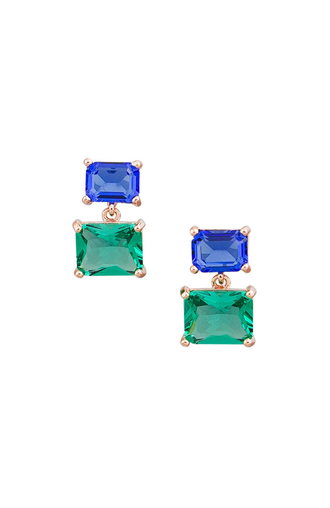 Retro Crystal Drop Earring I Blue & Green