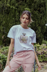 Fragrant Tiger Tee - White/Rose Pink