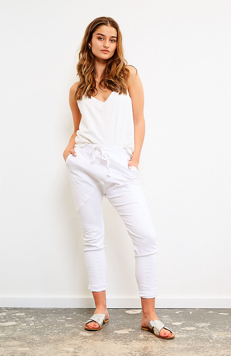 Frankie Denim Jogger - White