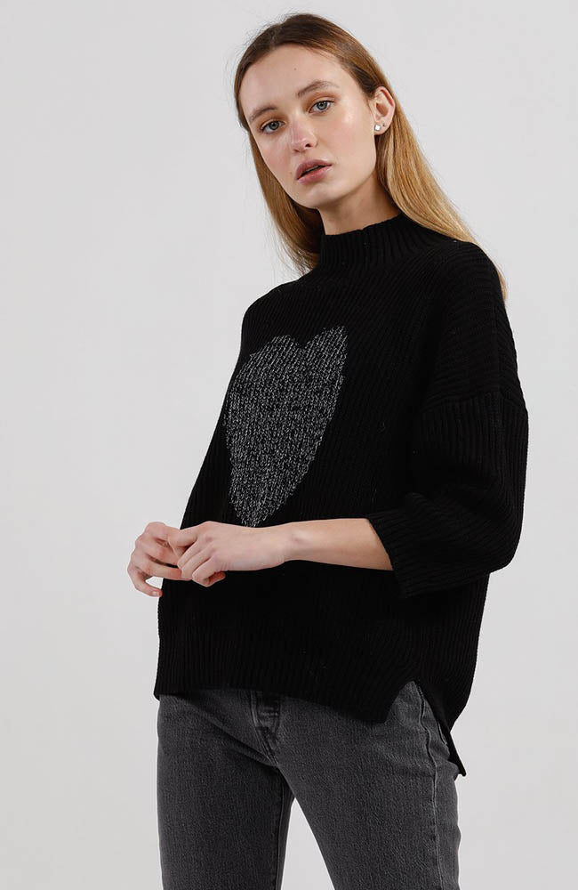 Heart Slouchy Jumper I Black Silver