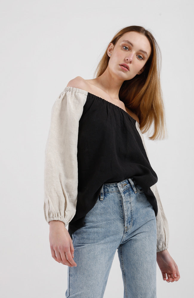 Lucia Top - Black with Bone