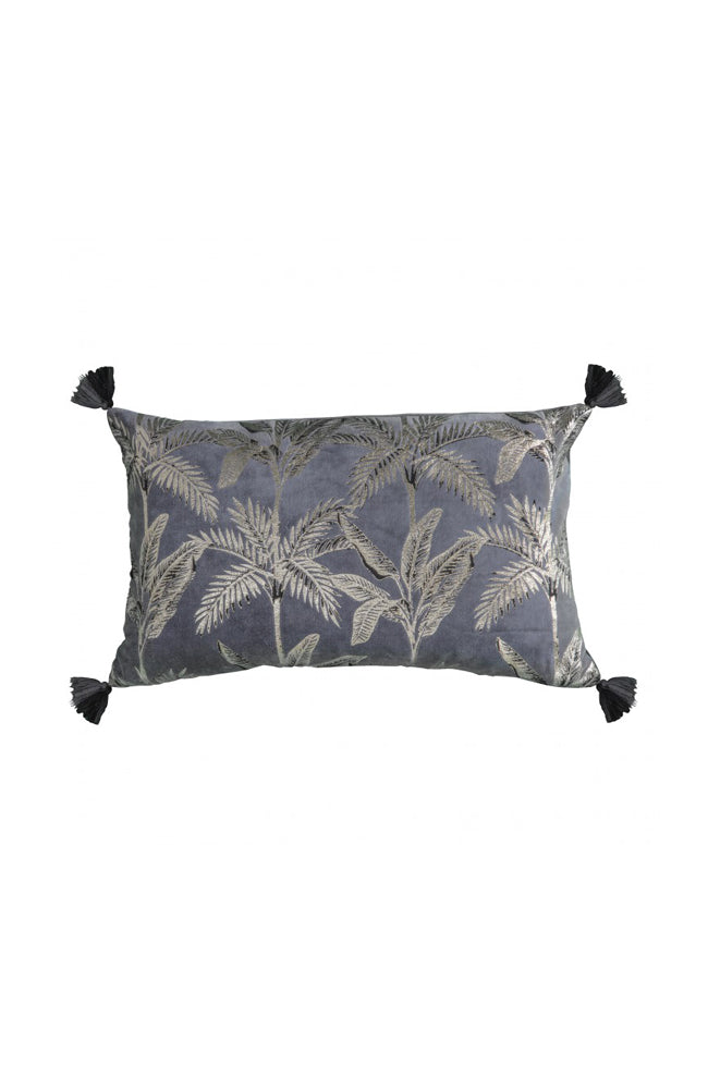 Tassel Palm Tree Cushion- Grey