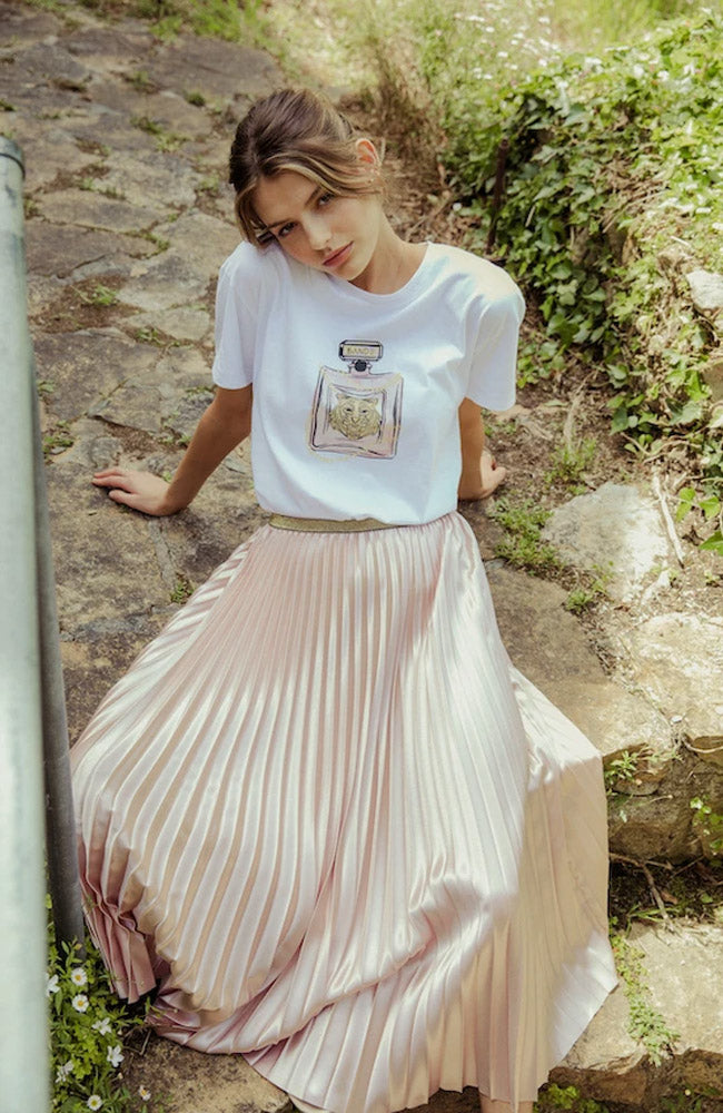 Pleat Satin Skirt - Champagne Pink