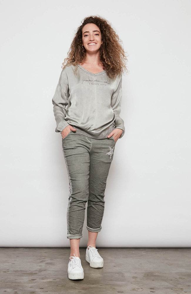 Popular Lies Top  - Khaki