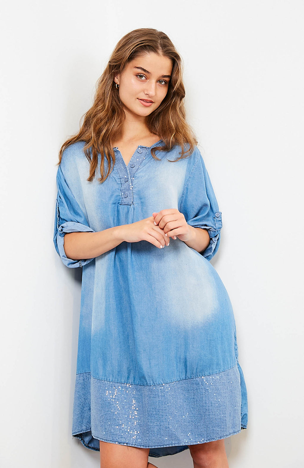 Sequin Hem Dress | Denim