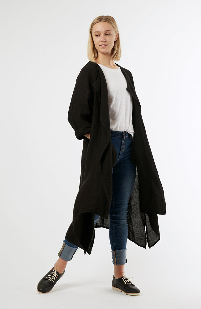 Waterfall Linen Jacket Black