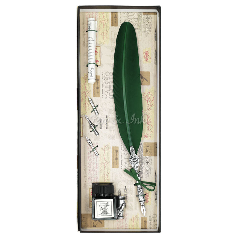 Duomo Large Forest Green Quill Writing Set