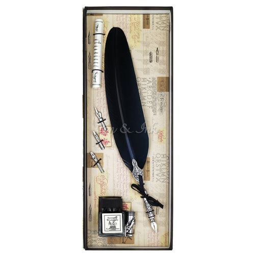 Duomo Large Navy Blue Quill Writing Set