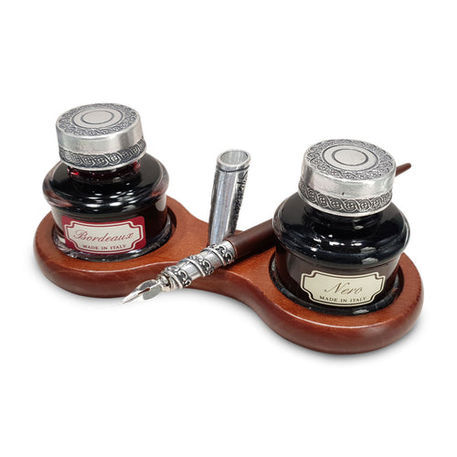 Duomo Wood & Pewter Double Desk Set