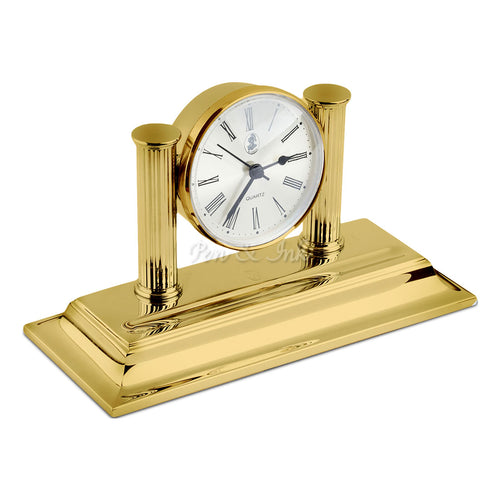 El Casco 23k Gold-Plated Desk Clock and Pen Holder