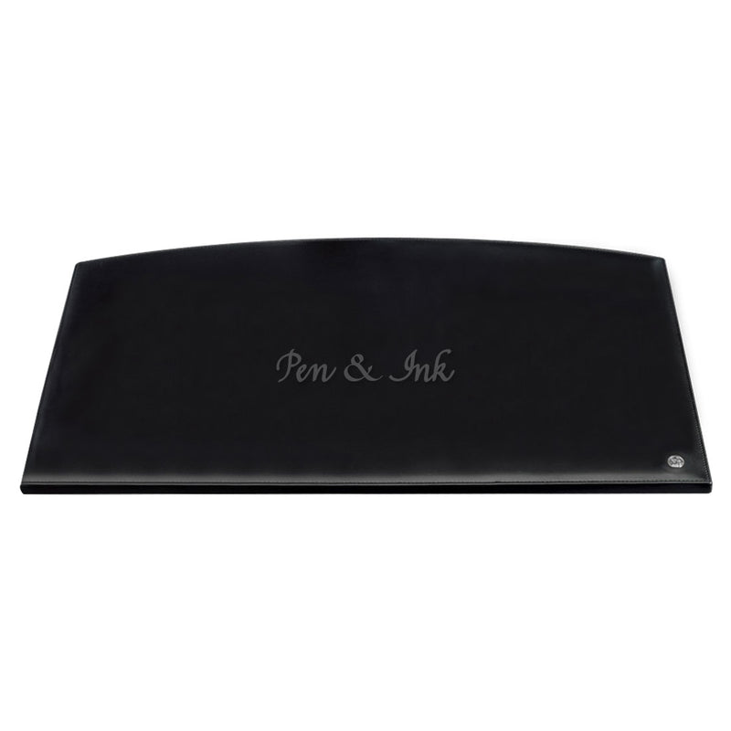 El Casco Black Leather Desk Mat with Chrome logo