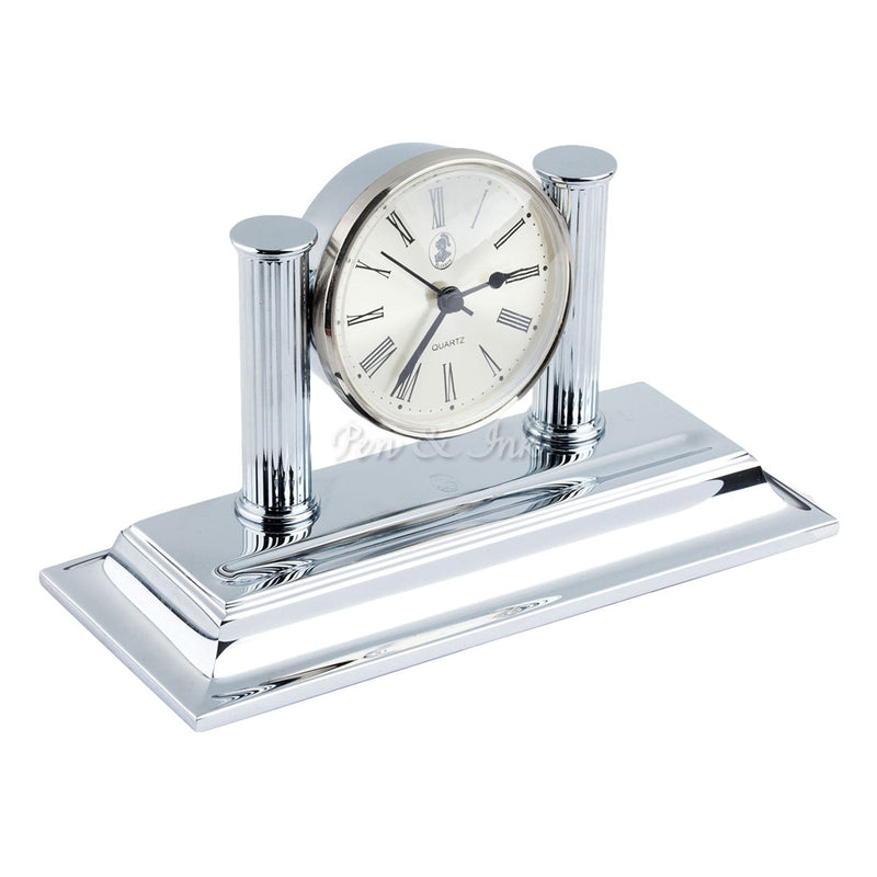 El Casco Chrome Desk Clock and Pen Holder