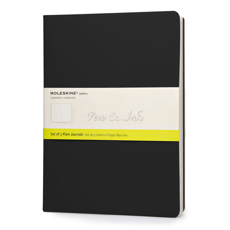 Moleskine Cahiers Set of 3 Extra Large Plain Black Notebooks