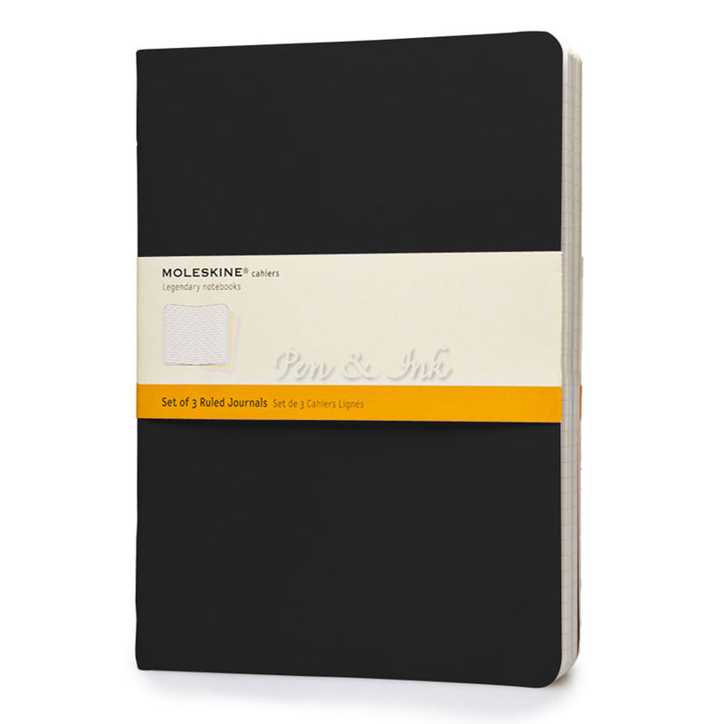 Moleskine Cahiers Set of 3 Extra Large Ruled Black Notebooks
