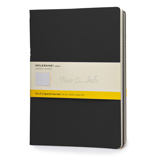 Moleskine Cahiers Set of 3 Extra Large Squared Black Notebooks