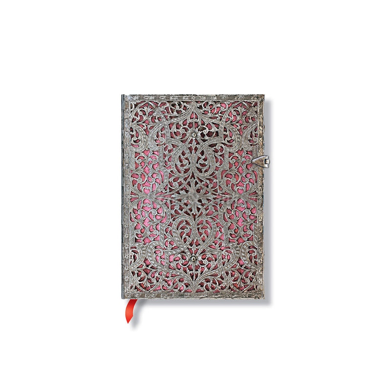 Paperblanks Silver Filigree Blush Pink Midi Lined Journal