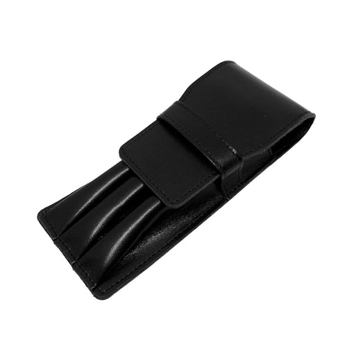 Visentin Black Leather 3 Pen Pouch