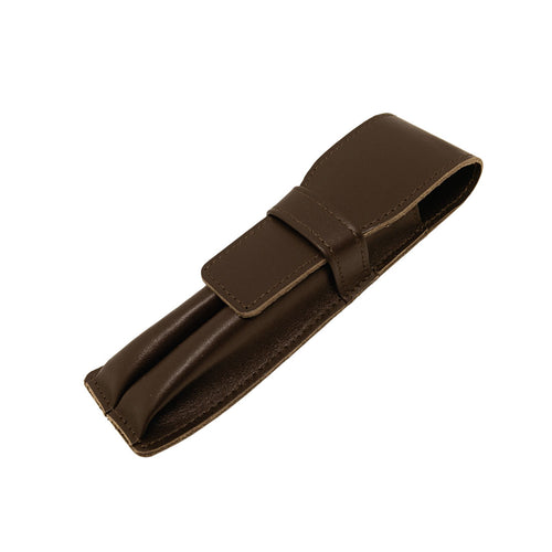 Visentin Brown Leather 2 Pen Pouch