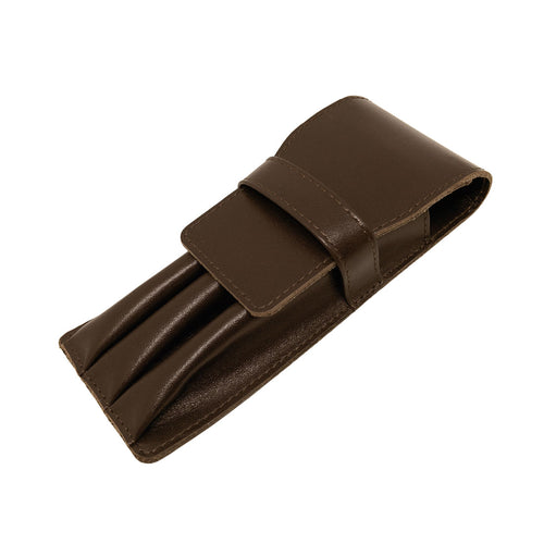 Visentin Brown Leather 3 Pen Pouch
