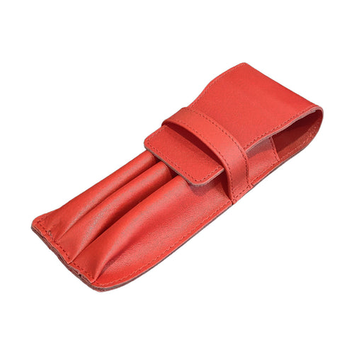 Visentin Red Leather 3 Pen Pouch