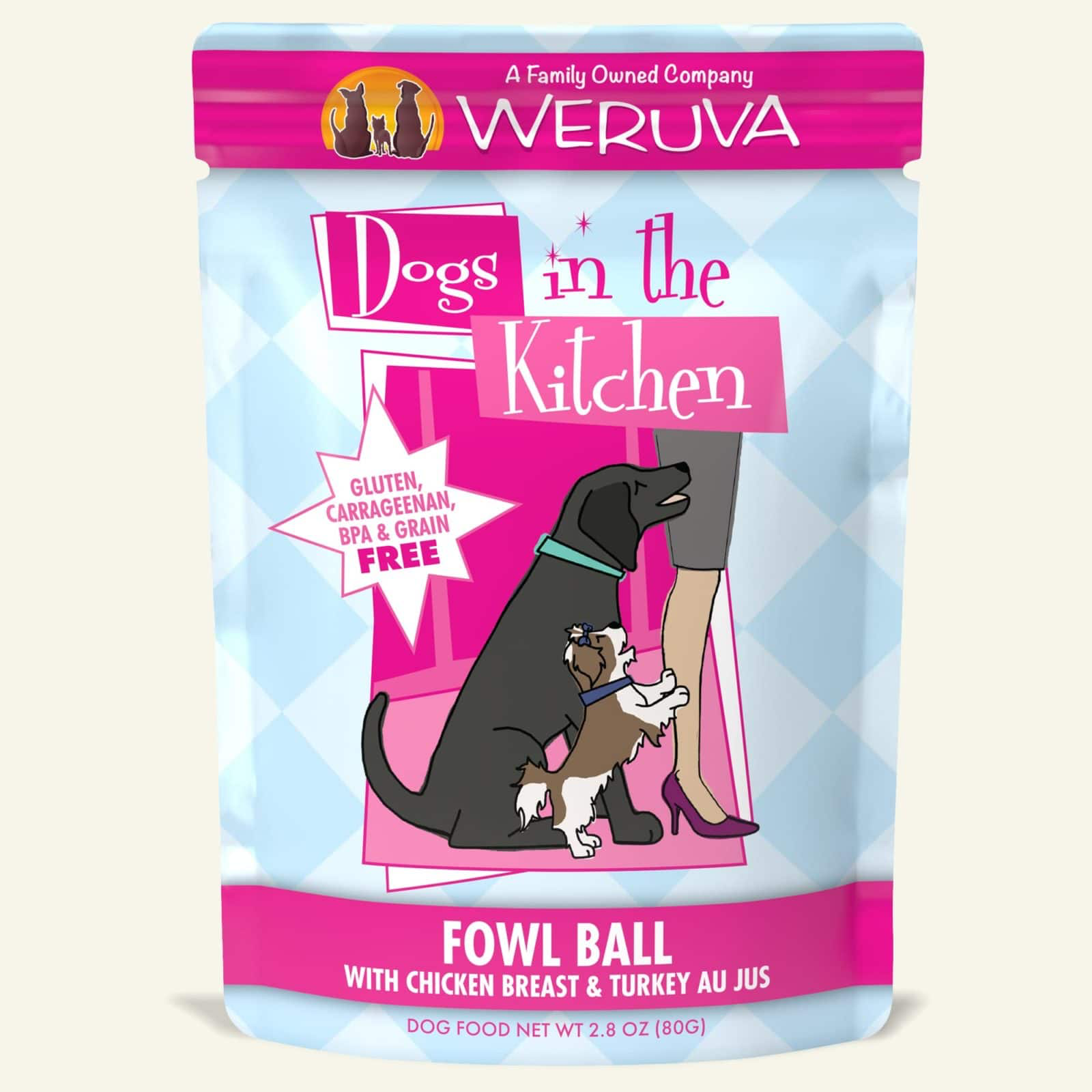 Weruva Dogs in the Kitchen Fowl Ball Chicken Breast and Turkey Au Jus