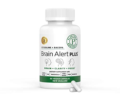 Plantonin Brain Support (60 Capsules)-Brain Supplement for Focus, Energy, Memory and Clarity-Brain Health for Students & Seniors Alike-Citicoline, Bacopa, Lion's Mane, B6-9-12-Nootropics Booster-Vegan