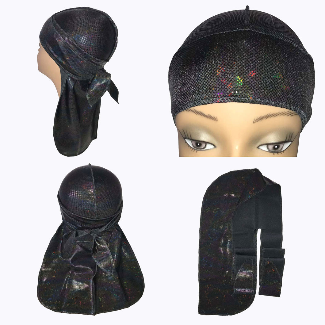 Black Holographic Silky Durag
