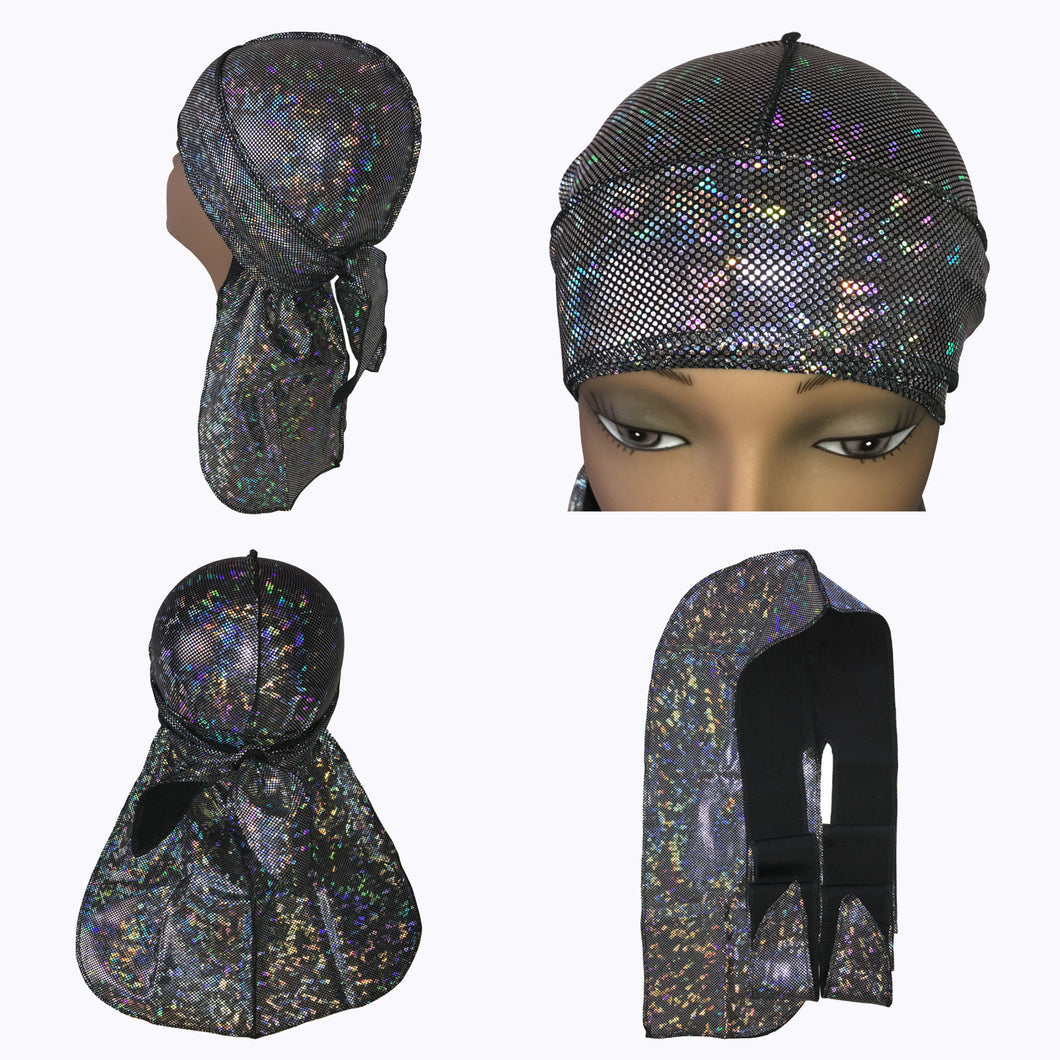 Silver Holographic Silky Durag